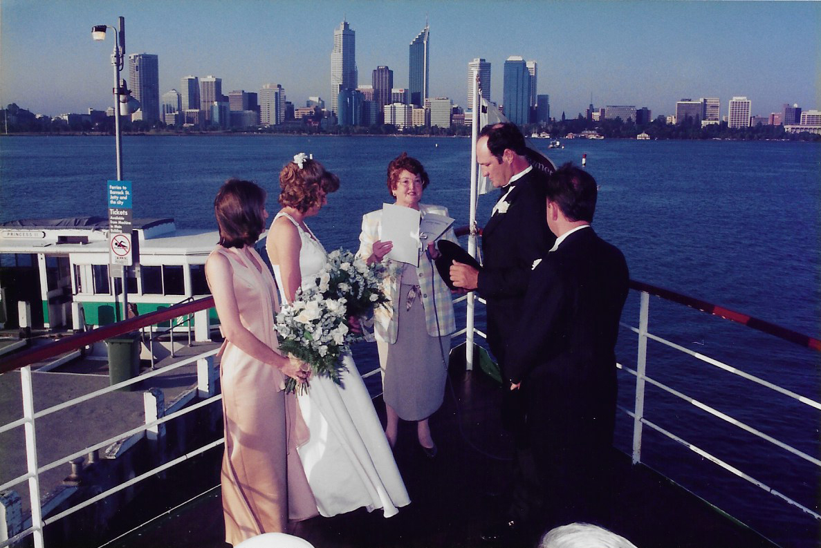 Country couple that decided to surprise their family and friends at their engagement on 11th January 1997 and tie the knot. Only their parents and 2 best friends knew. It was such a lovely location on the Swan River with the city backdrop behind them. Image courtesy of Natalie Dunkeld.
