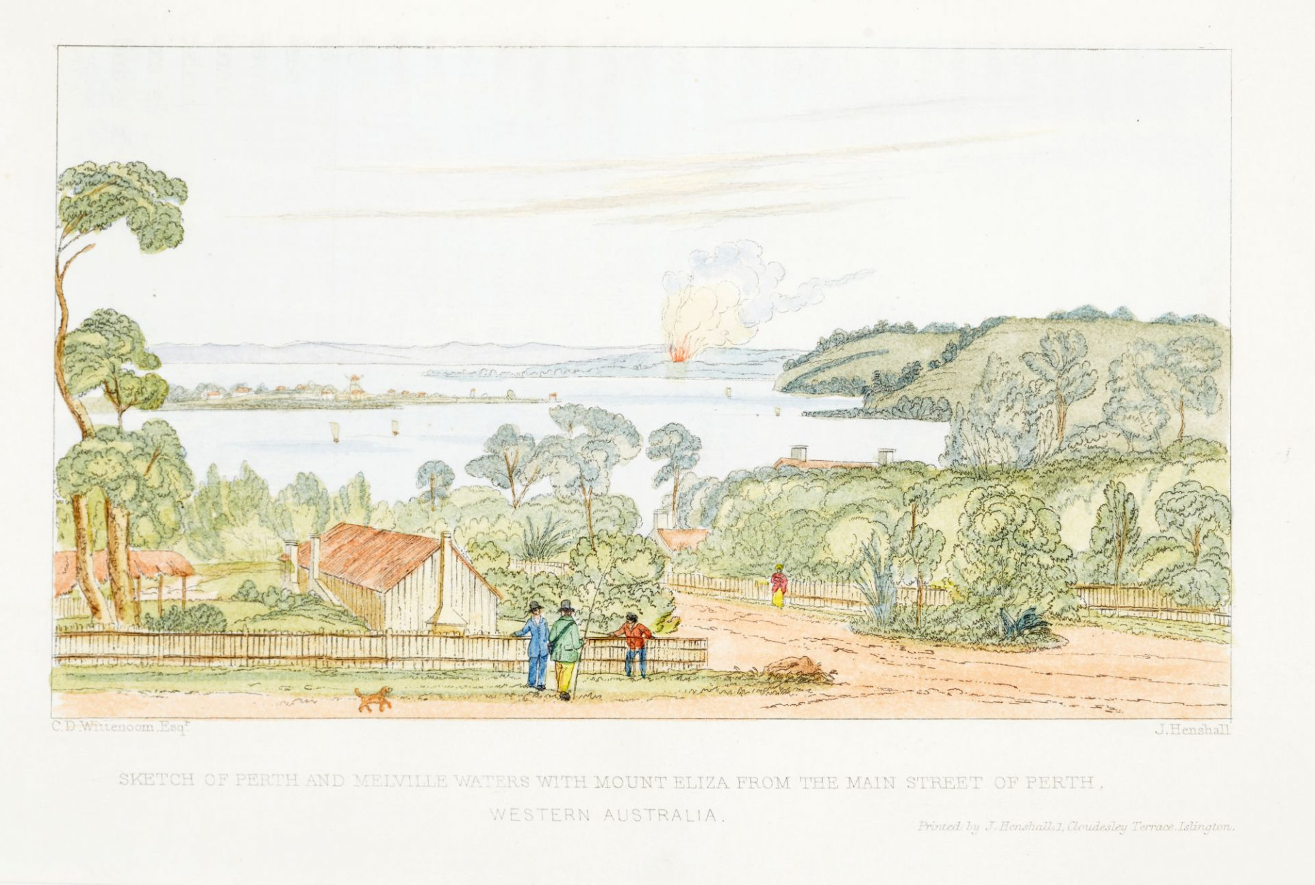 C.D. Wittenoom's sketch of Perth in 1839, as Miago would have known it.
